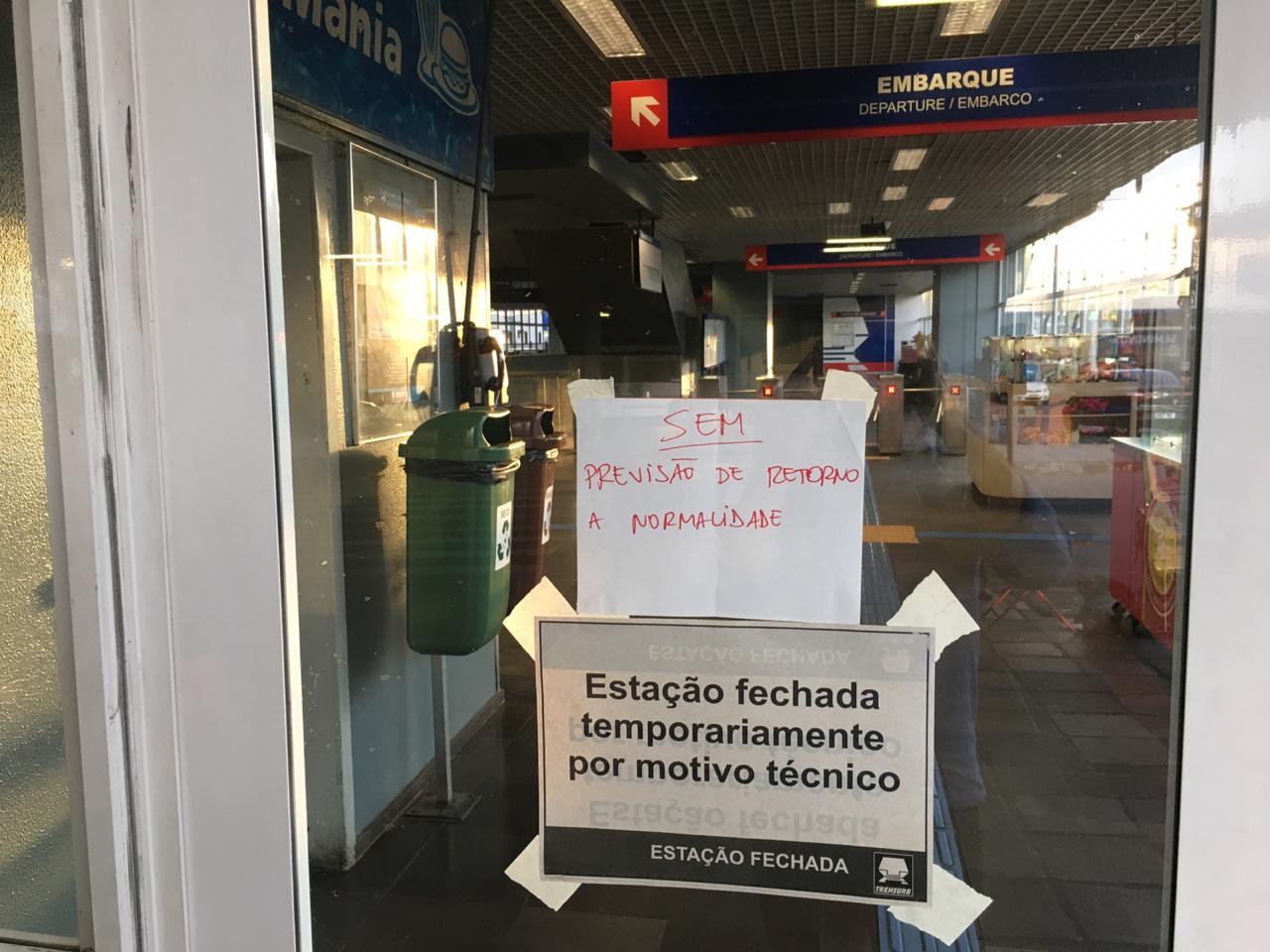 Estação fechada Trensurb